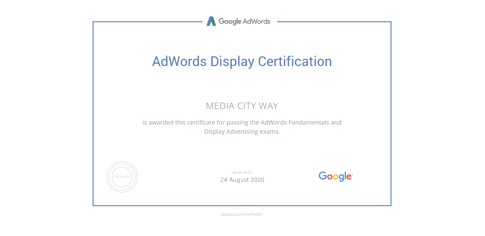 Adwords Display Certificate