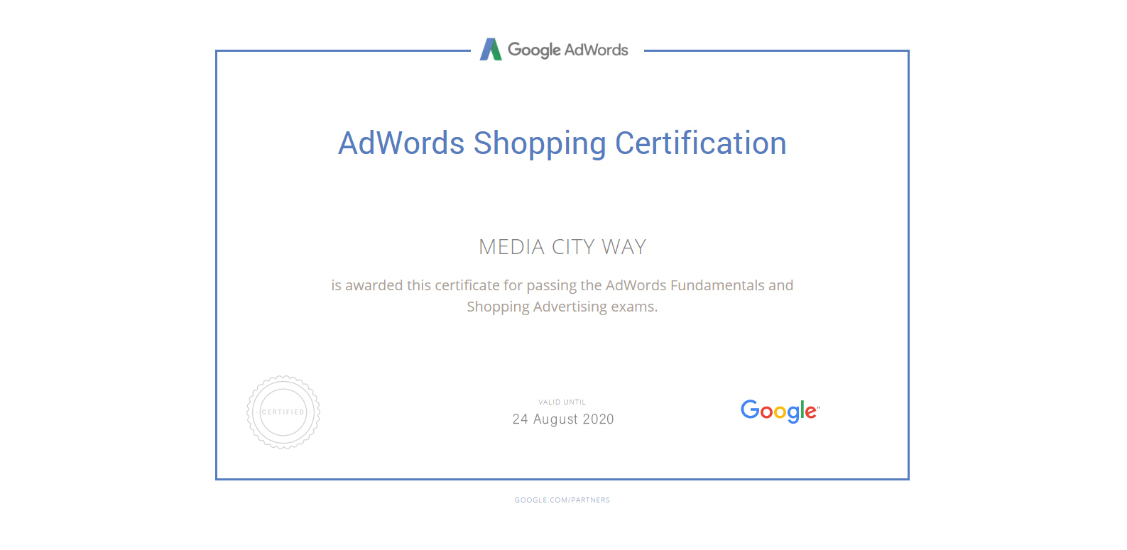 Adwords Shopping Certificate