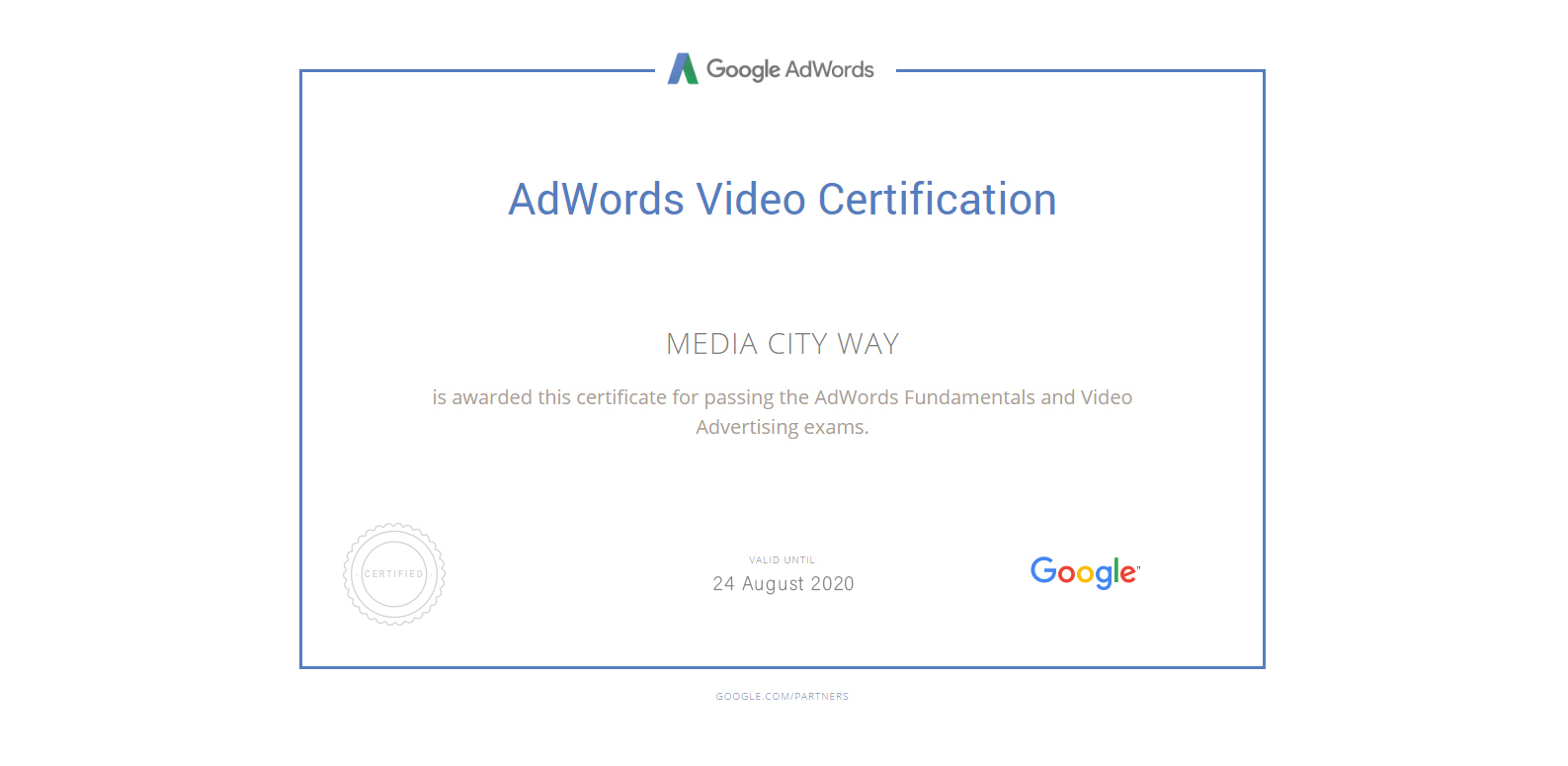 Adwords Video Certificate